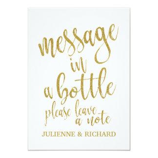 Message dans un signe abordable de mariage d'or de carton d'invitation  12,7 cm x 17,78 cm