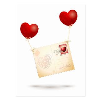 Message de l'amour carte postale