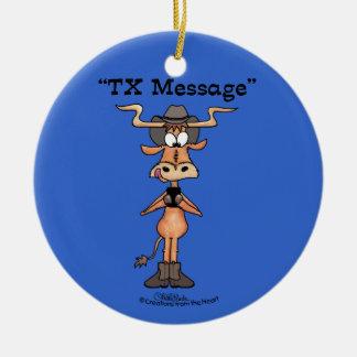 Message du TX de Longhorn pour Noël Ornement Rond En Céramique