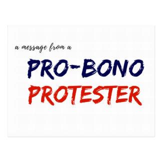 Message d'un Pro-Bono protestataire Carte Postale