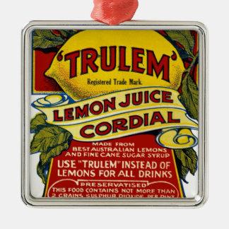 Message publicitaire de citron ornement carré argenté