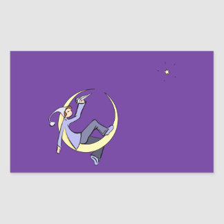 Messager de lune sticker rectangulaire