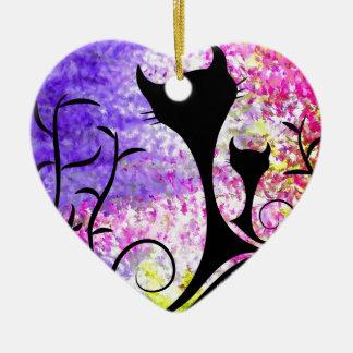 Messemios - chats noirs ornement cœur en céramique