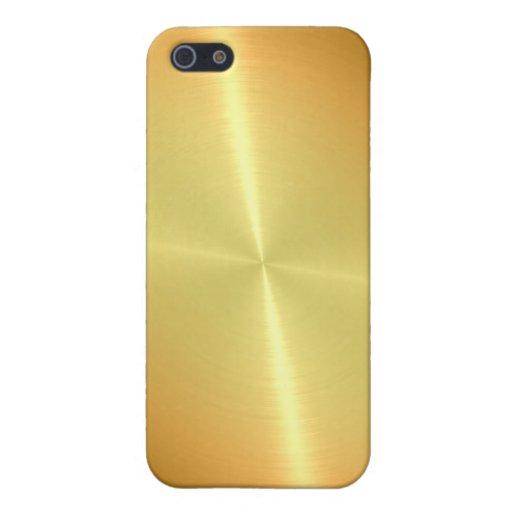 Métal brillant d'acier inoxydable d'or iPhone 5 case