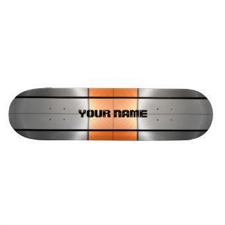 Métal brillant orange et gris 2 d'acier inoxydable plateau de skateboard