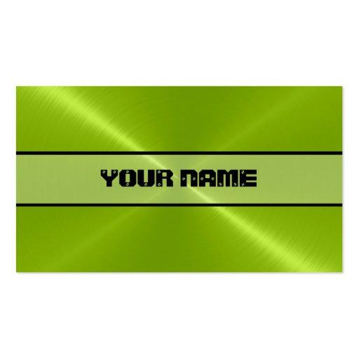 Métal brillant vert d'acier inoxydable cartes de visite personnelles