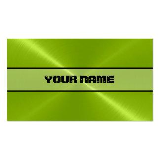 Métal brillant vert d'acier inoxydable carte de visite standard