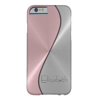 Métal d'argent et d'acier inoxydable de rose coque iPhone 6 barely there