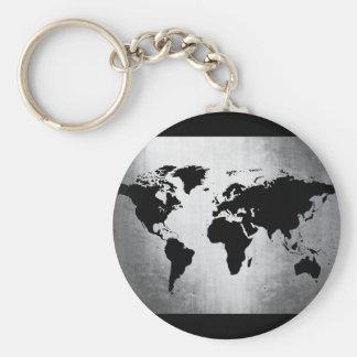 Métal de carte du monde porte-clé rond