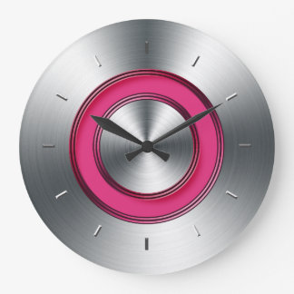 Métal et fuchsia modernes de Faux d'horloge murale Grande Horloge Ronde