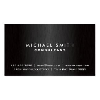 Métal moderne noir simple professionnel élégant carte de visite standard