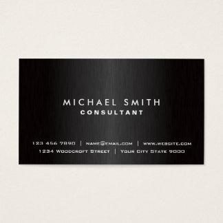 Métal moderne noir simple professionnel élégant cartes de visite