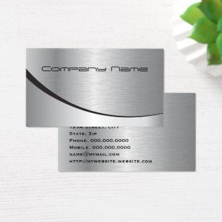 Métal noir argenté moderne élégant professionnel cartes de visite