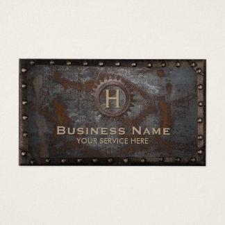 Métal rouillé de monogramme vintage de cartes de visite