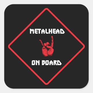 Metalhead à bord d'autocollant sticker carré