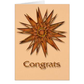 Metallica brillant et satin Starburst Congrats Carte De Vœux