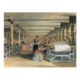 Métier à tisser de puissance tissant, 1834 carte postale