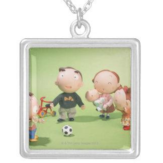 Métier (parent et enfant) pendentif carré