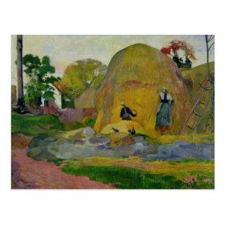 Meules de foin jaunes, ou récolte d'or, 1889 carte postale