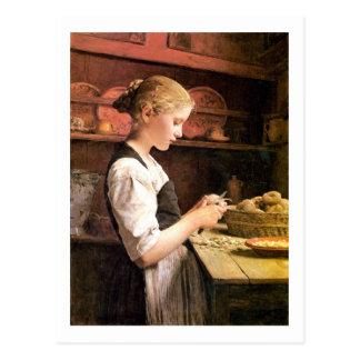 Meurent la fille de kleine Kartoffelschälerin Carte Postale