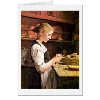 Meurent la fille de kleine Kartoffelschälerin Cartes De Vœux