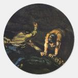 Meurtre, par Paul Cézanne (la meilleure qualité) Autocollant Rond