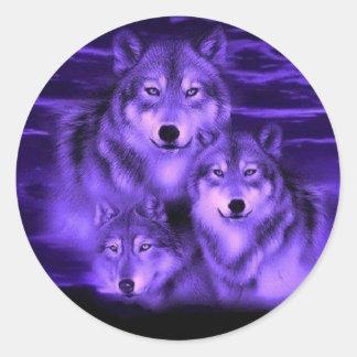 Meute de loups sticker rond