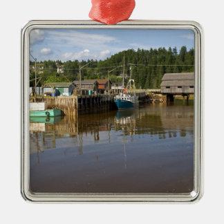 Mi marée à la baie de Fundy à St Martins, nouvelle Ornement Carré Argenté