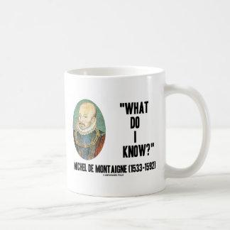 Michel de Montaigne ce qui je savent ? Citation Mug