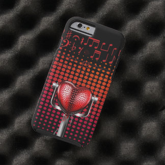 Microphone de cru de coeur de musique coque iPhone 6 tough