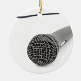 Microphone - entretien à moi ornement rond en céramique
