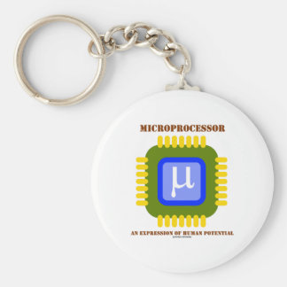 Microprocesseur une expression de potentiel humain porte-clé rond