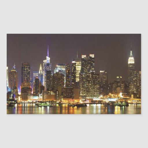 Midtown Manhattan vu du New Jersey de Weehawken Autocollant En Rectangle