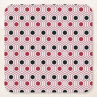 Miel noir rouge dessous-de-verre carré en papier