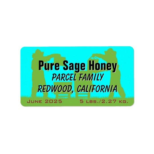 Miel personnalisé par bleu d'apiculteur étiquette d'adresse