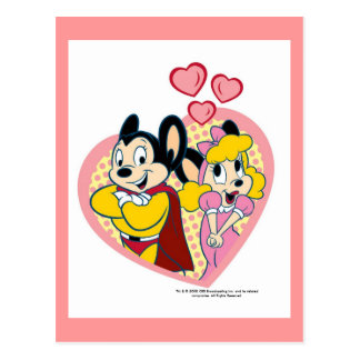 Mighty Mouse en carte postale d'amour