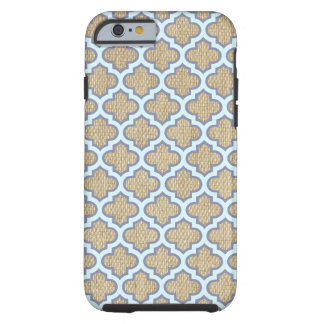 Mignon à la mode de toile de jute et de motif coque tough iPhone 6