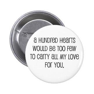 """Mignon, """"cent coeurs"""" épousant la citation badges avec agrafe"""