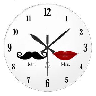 Mignon et drôle - M. et Mme Lips et moustache Grande Horloge Ronde