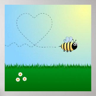 Mignon gaffez la bande dessinée d'abeille poster