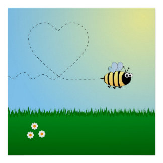 Mignon gaffez la bande dessinée d'abeille posters