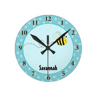 Mignon gaffez l'abeille que l'horloge murale ajout horloge ronde