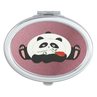 Mignon Girly rose romantique drôle de panda de Miroir De Voyage