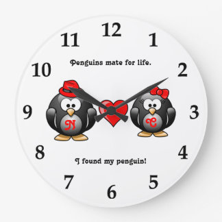 Mignon j'ai trouvé mon compagnon de pingouin pour  grande horloge ronde