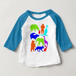 Mignon lumineux coloré d'animaux sauvages t-shirt pour bébé