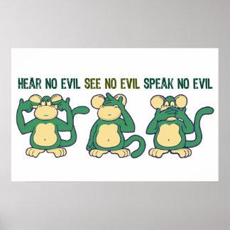 Mignon n'entendez aucun singe de mal poster