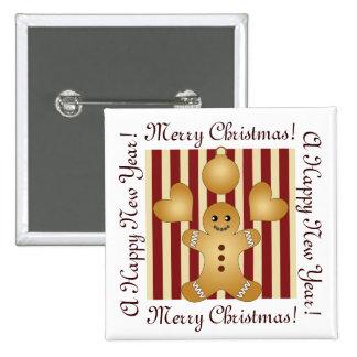 Mignon rayé rouge de biscuits de vacances de Noël Badge Carré 5 Cm