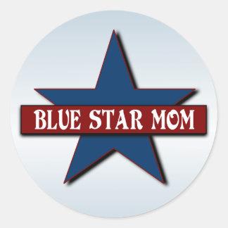 Militaires de maman d'étoile bleue sticker rond