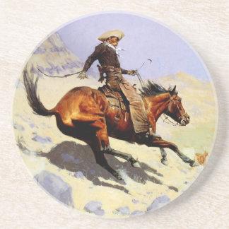 Militaires vintages de cavalerie, le cowboy par dessous de verres