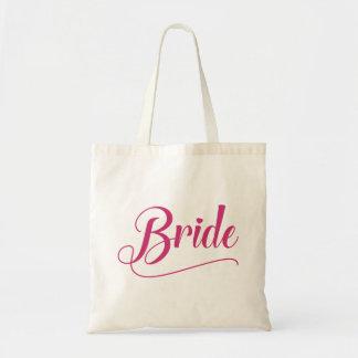 Millefeuille rose calligraphique de jeune mariée sacs en toile